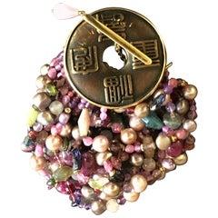 Pearls Rubellite Ruby Tourmaline 18 Karat Gold Coin Bracelet