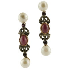 Pearls Rubies Diamonds Rose Gold and Silver Earrings