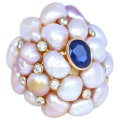 Pearls Sapphire Diamonds Yellow Gold Dome Ring Sustainable Trend, 1970