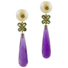 Pearls, Sapphires, Hydro Amethyst, Diamonds, 14 Karat Rose Gold, Dangle Earrings