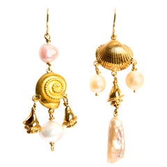 Pearls Shells Yellow Gold 18 Karat Dangle Drop Earrings