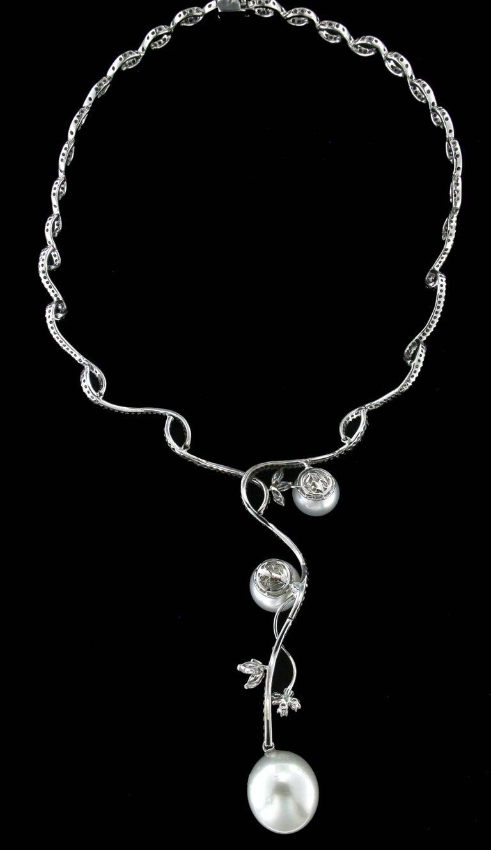 Australian Pearls white gold 18 karat diamonds choker necklace  Necklace gold 35 grams Total necklace weight 45.50 grams  Diamonds weight 5.10 karat  Pearls weight 50 karat