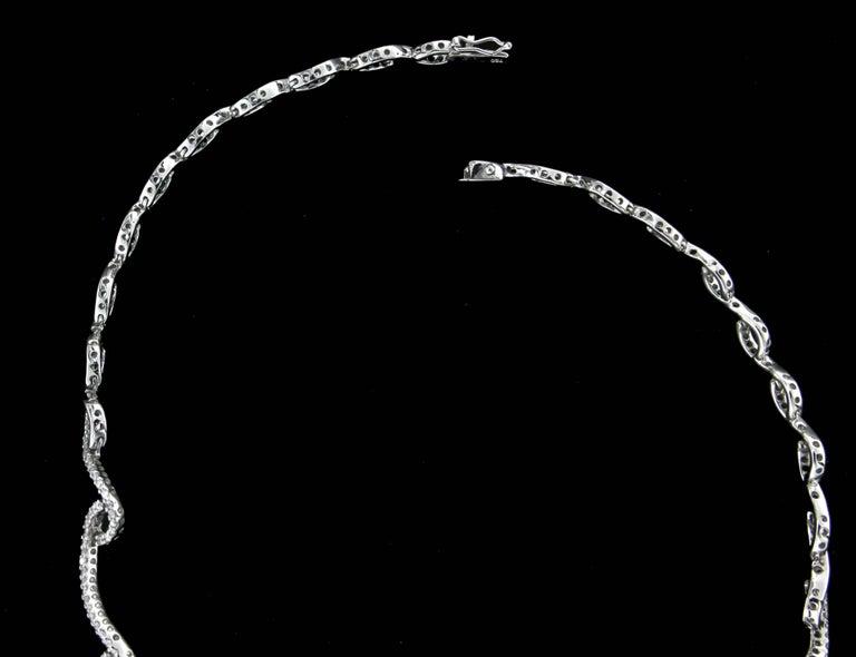 Women's or Men's Pearls White Gold 18 karat Diamonds Choker Necklace For Sale