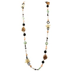 Pearls, Agate, Garnets, 9 Karat Rose Gold and Silver Long Necklace