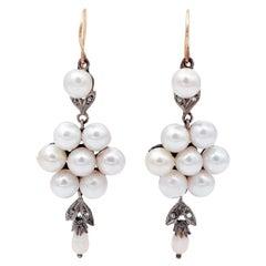 Pearls, Diamonds, 14 Karat Rose Gold and Silver Dangle Earrings
