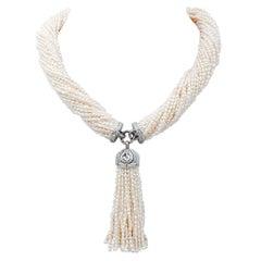 Pearls,Diamonds,14 Karat White Gold Torchon Necklace.