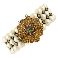 Pearls,Yellow Sapphires,Emeralds,Rubies,Diamonds 9k Rose Gold &Silver Bracelet