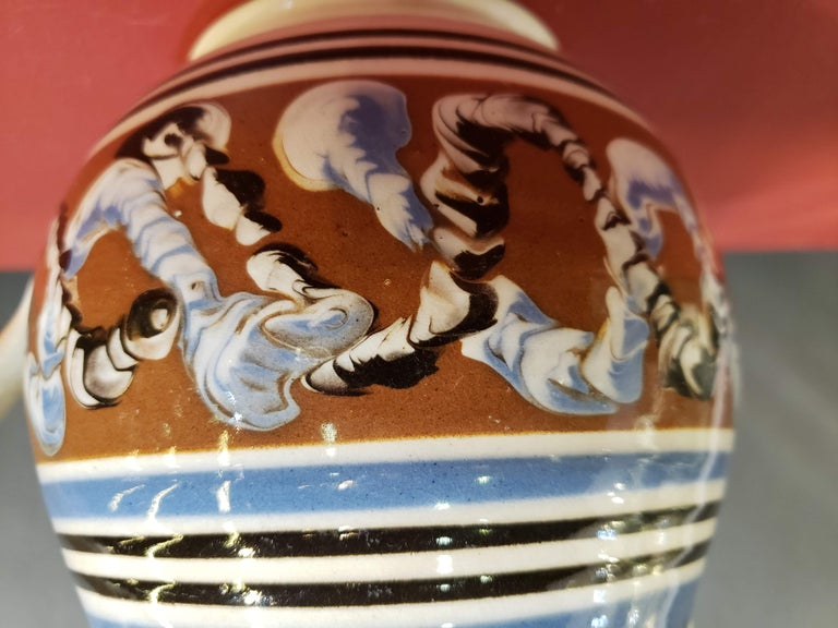 Ceramic Pearlware Pottery Mocha Jug with Seaweed and Earthworm Design, circa 1830 For Sale