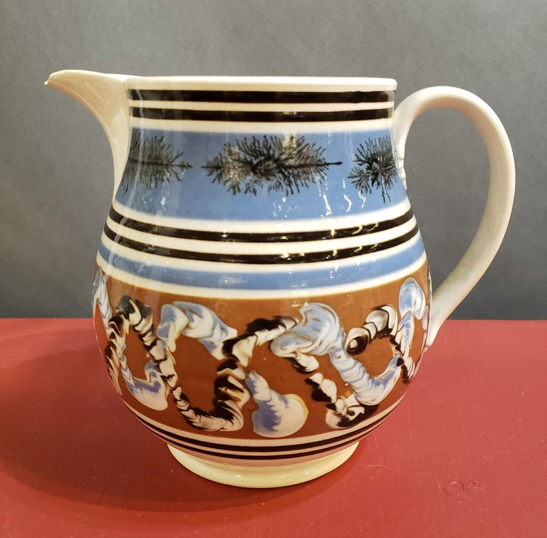 Pearlware Pottery Mocha Jug with Seaweed and Earthworm Design, circa 1830 For Sale 1
