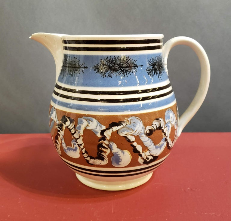 Pearlware Pottery Mocha Jug with Seaweed and Earthworm Design, circa 1830 For Sale 2