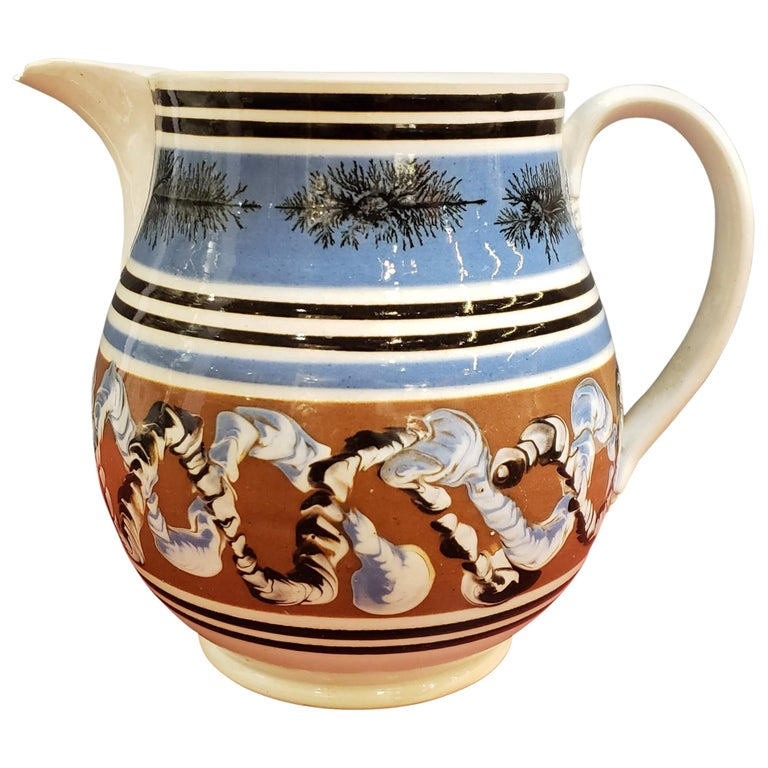 Pearlware Pottery Mocha Jug with Seaweed and Earthworm Design, circa 1830 For Sale