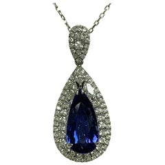 Pears Shape 5.26 Carat Tanzanite and 1.19 Carat Diamond Pendant