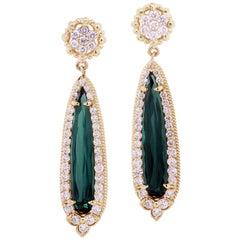Pearshape Green Tourmaline Yellow Gold and Diamond Drop Earrings Stambolian