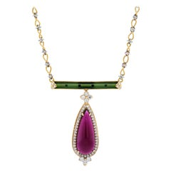Pearshape Rubelite and Green Tourmaline Pendant with Diamonds Stambolian