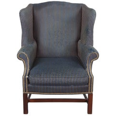 Pearson George III Chippendale Mahogany Striped Wingback Library Club Arm Chair