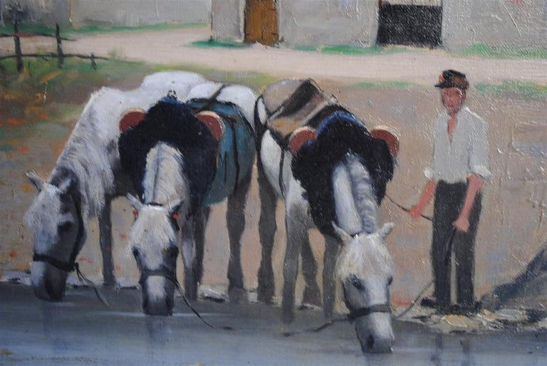 Oil painting on canvas depicting a peasant and horse drinking by Etienne Bouille. Born in 1858 in Villiers-Saint-Benoît, who died in 1933 in Perros-Guirec, Etienne Bouillé was a realist French painter. In Paris, he attended workshops of Gerome Loir.