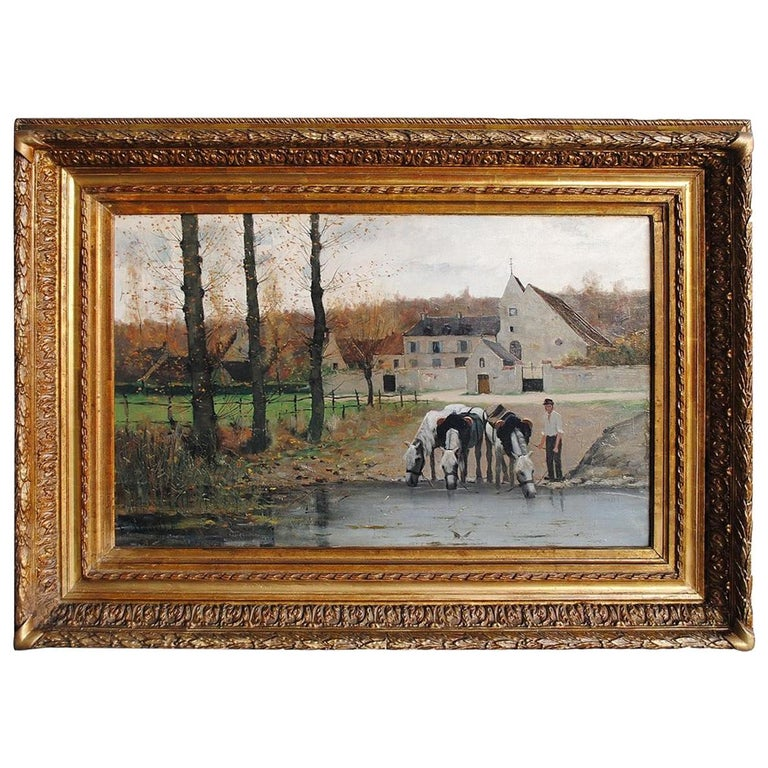 """""""Peasant with Drinking Horse"""" Oil on Canvas by Etienne Bouillé For Sale"""