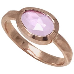 Pebble Shaped 1.34 Carat Pink Sapphire Fashion Ring and 18 Karat Pink Gold Band