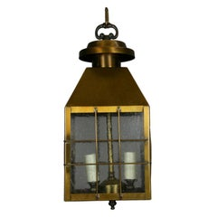 Nautical Pebbled Glass Brass Lantern(2 available)
