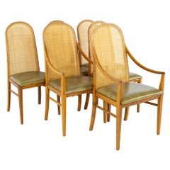 Dillingham Style MCM Oak and Cane Dining Chairs, Set of 6