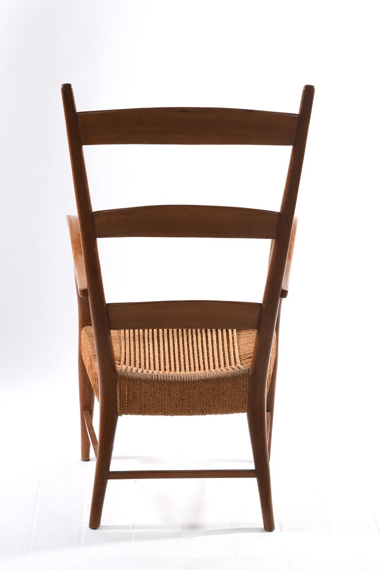 Pecorini Florence Italy Midcentury Pair of Armchairs Seat with Braided Rope For Sale 4