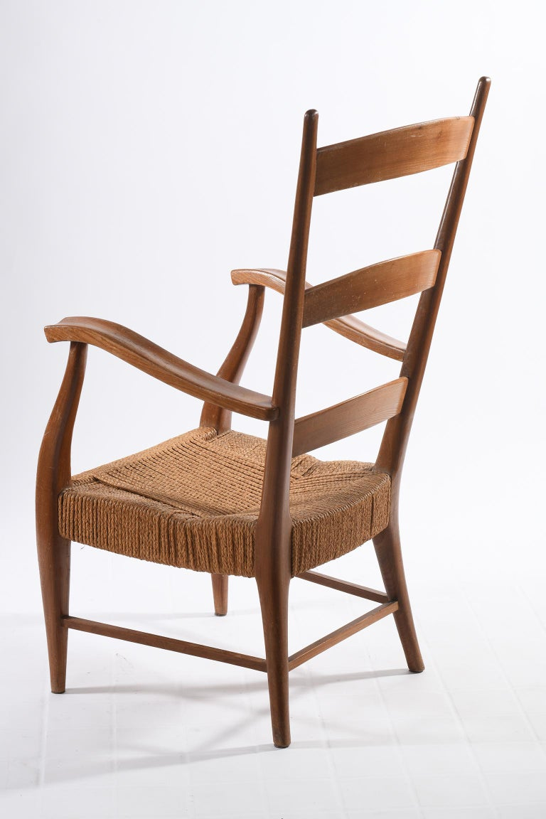 Pecorini Florence Italy Midcentury Pair of Armchairs Seat with Braided Rope For Sale 5