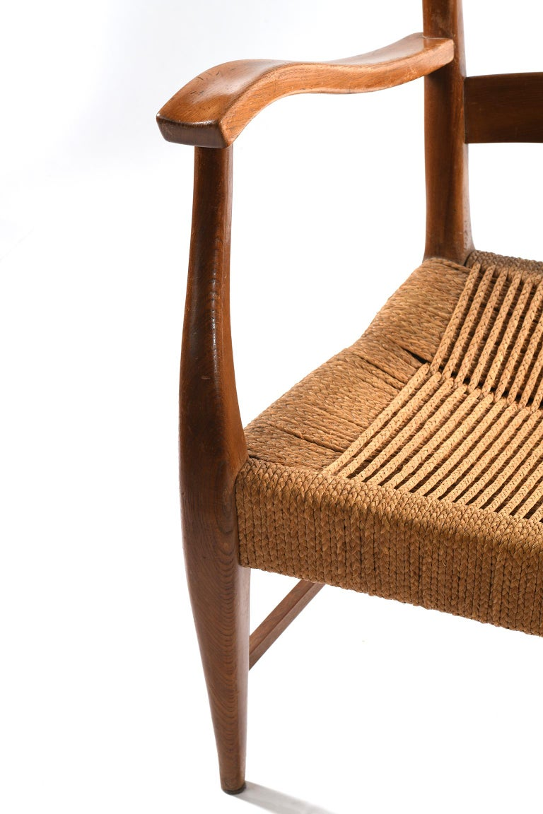 Pecorini Florence Italy Midcentury Pair of Armchairs Seat with Braided Rope For Sale 9