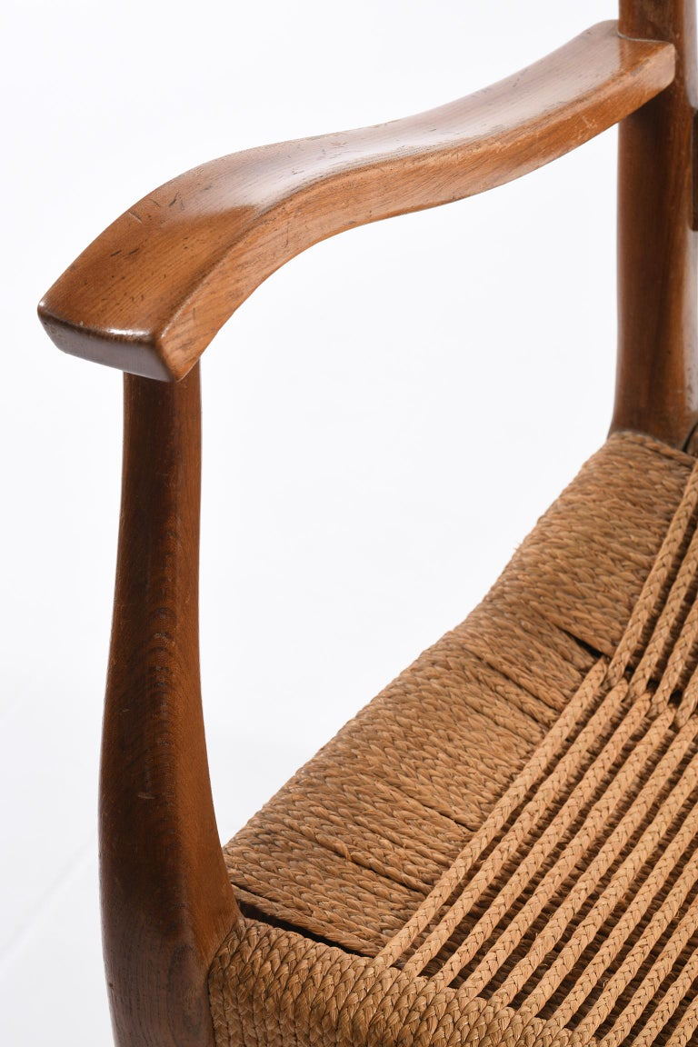 Pecorini Florence Italy Midcentury Pair of Armchairs Seat with Braided Rope For Sale 13