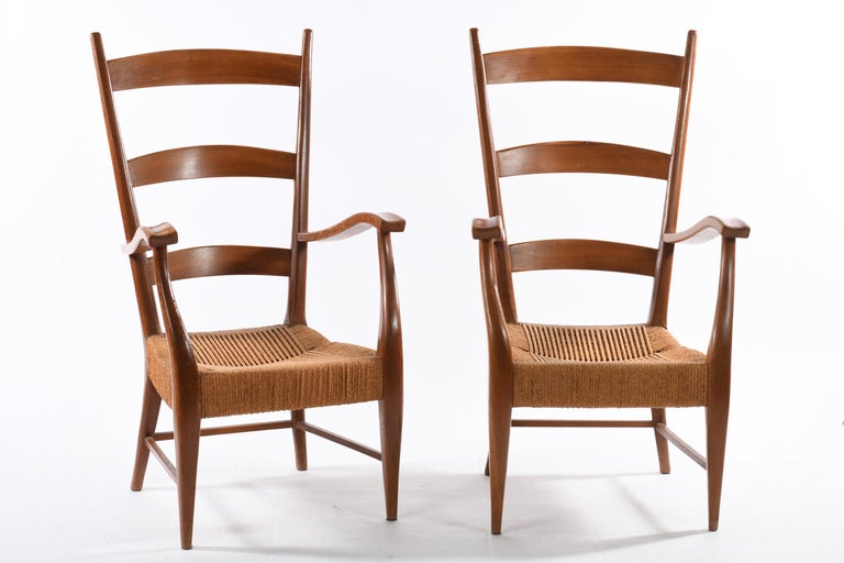 Mid-Century Modern Pecorini Florence Italy Midcentury Pair of Armchairs Seat with Braided Rope For Sale