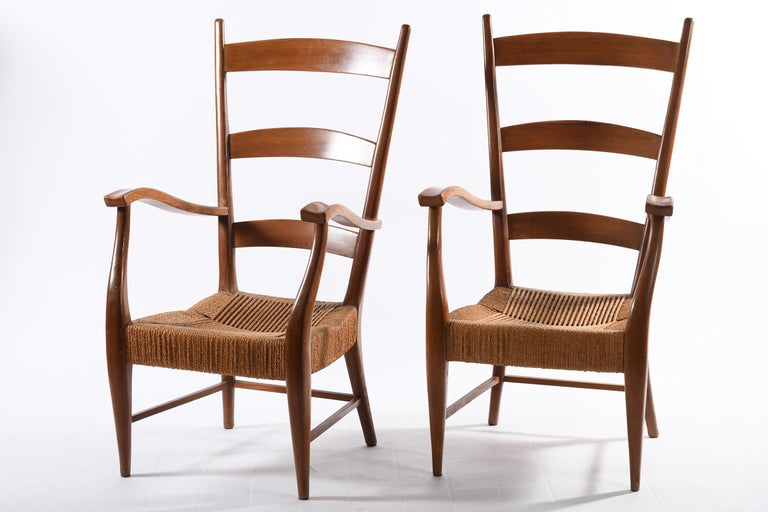 Italian Pecorini Florence Italy Midcentury Pair of Armchairs Seat with Braided Rope For Sale