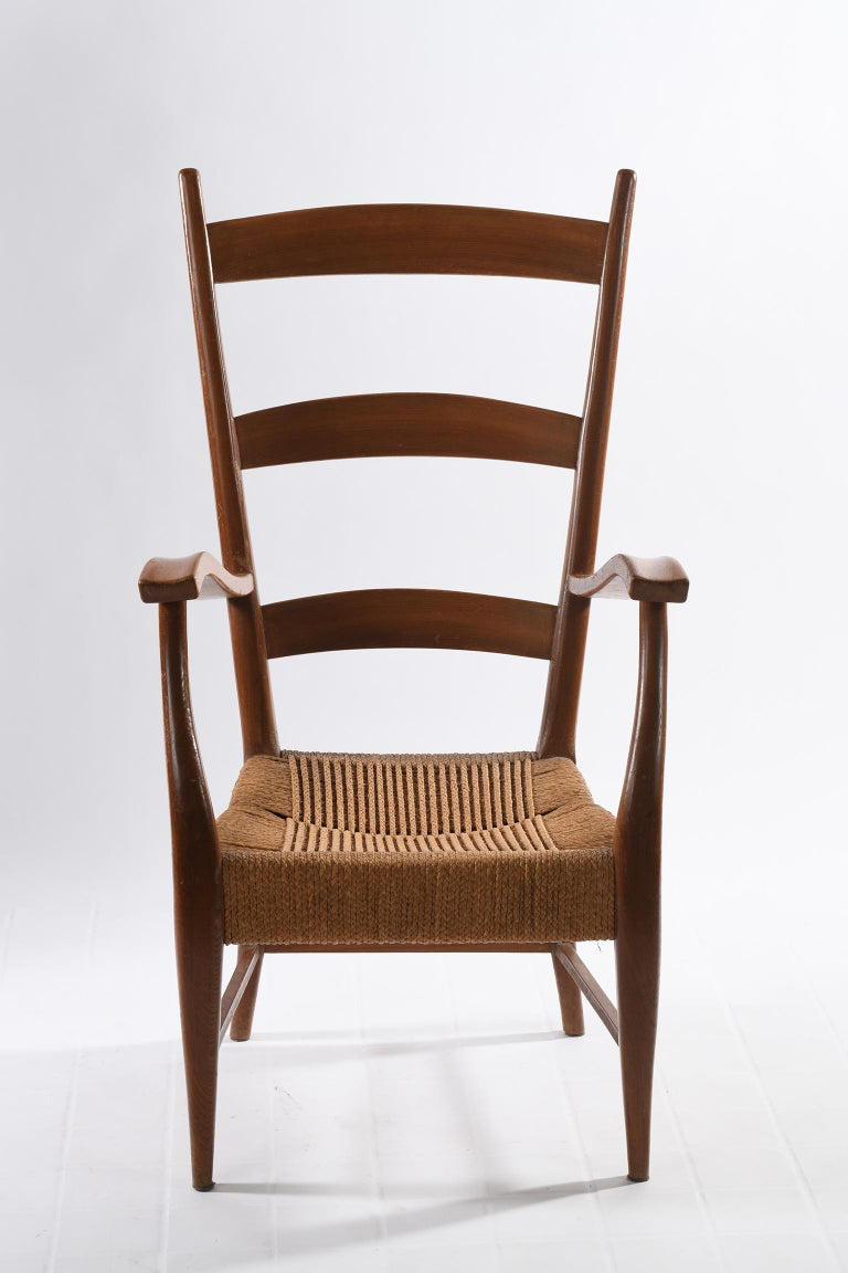 Mid-20th Century Pecorini Florence Italy Midcentury Pair of Armchairs Seat with Braided Rope For Sale