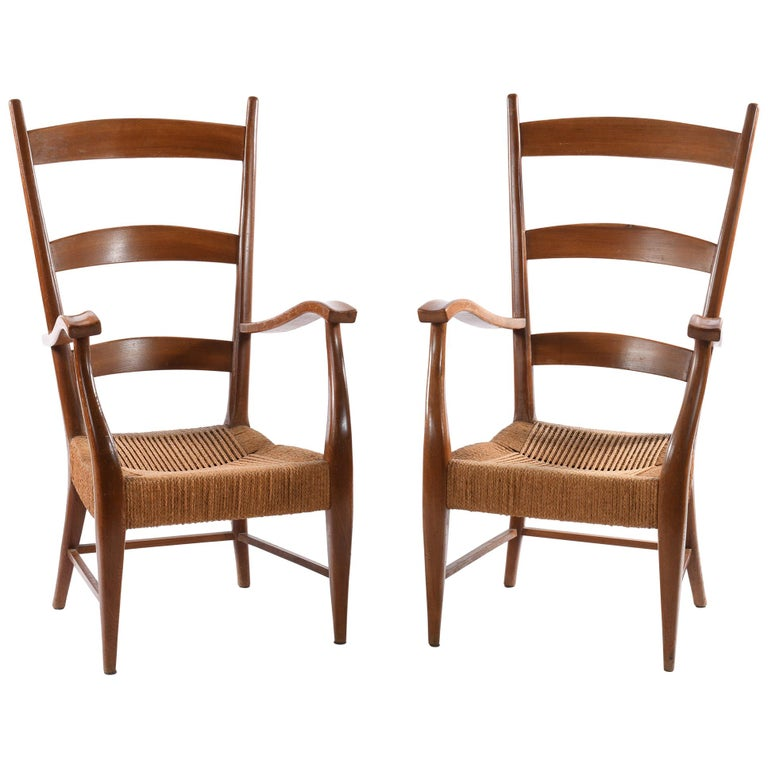 Pecorini Florence Italy Midcentury Pair of Armchairs Seat with Braided Rope For Sale