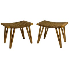 Pecorini Midcentury Pair of Stools Woven Straw Rope Seat