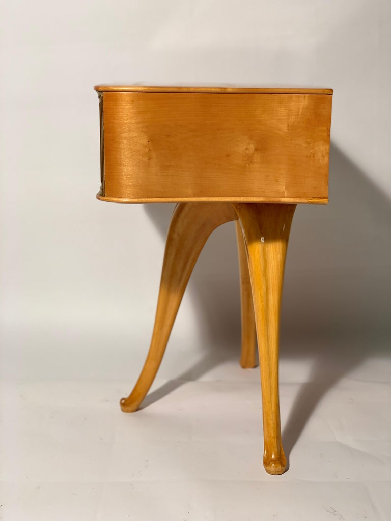 Pecorini Pair of Italian Midcentury Blond Wood Nightstands Florence, Italy 5