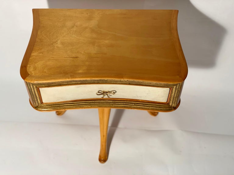 Pecorini Pair of Italian Midcentury Blond Wood Nightstands Florence, Italy 7