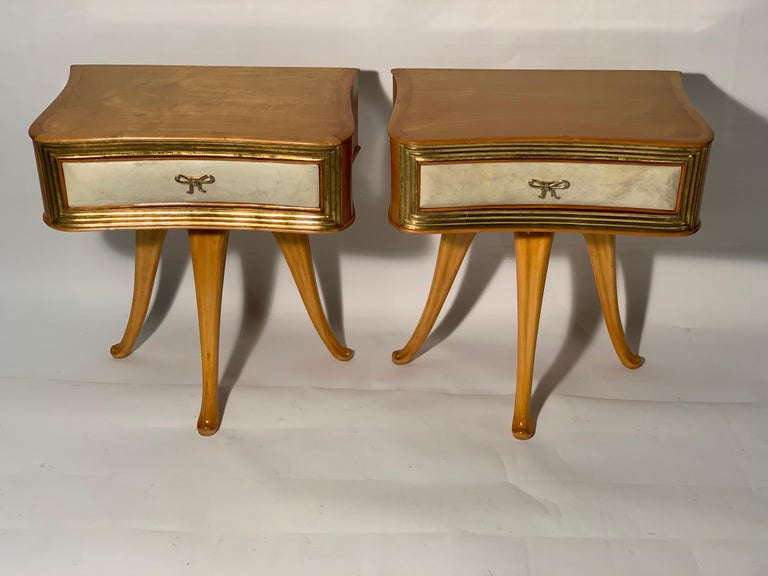 Mid-Century Modern Pecorini Pair of Italian Midcentury Blond Wood Nightstands Florence, Italy