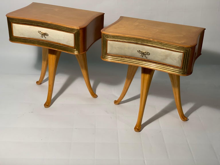 Pecorini Pair of Italian Midcentury Blond Wood Nightstands Florence, Italy In Good Condition In Firenze, IT