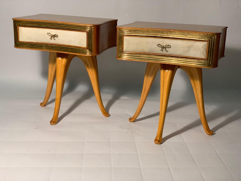 Brass Pecorini Pair of Italian Midcentury Blond Wood Nightstands Florence, Italy