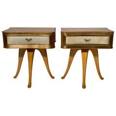 Pecorini Pair of Italian Midcentury Blond Wood Nightstands Florence, Italy