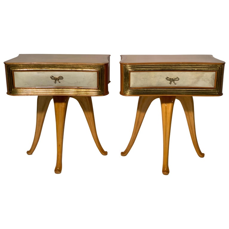 Pecorini Pair of Italian Midcentury Blond Wood Nightstands Florence, Italy