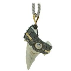 Pedant Shark Fang 18 Karat White Gold Diamonds