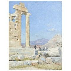 Peder Mønsted Oil Painting of Acropolis 'Athens'