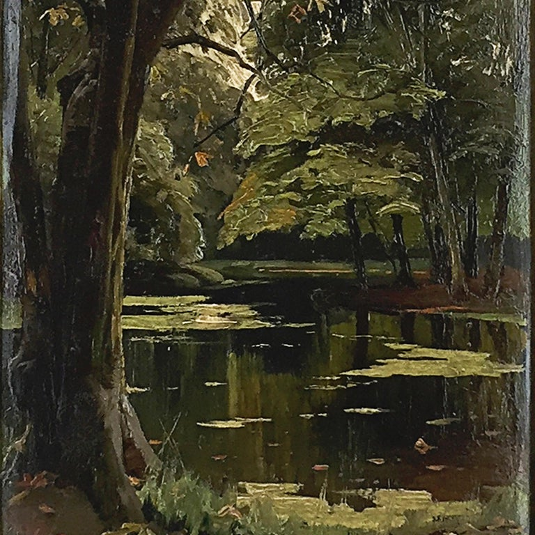 Other Peder Mønsted Painting, Forest Scenery, Late Summer, Oil on Canvas For Sale