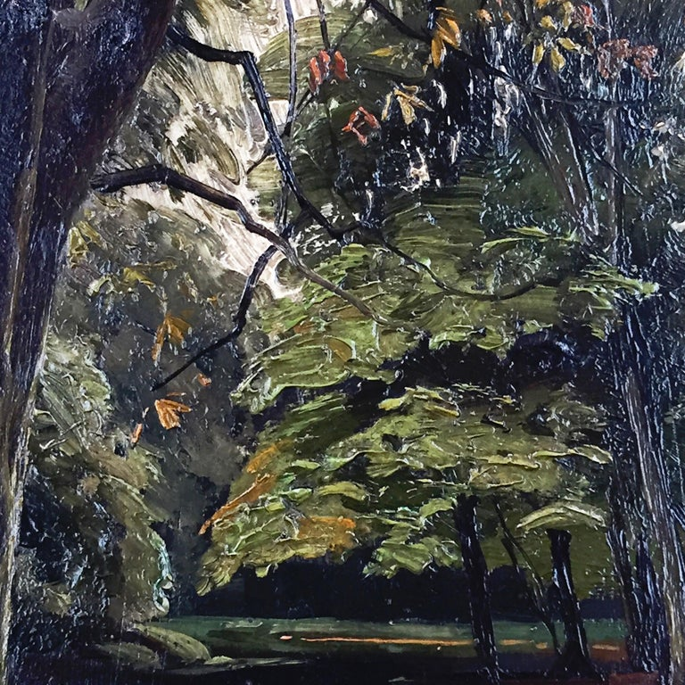 Danish Peder Mønsted Painting, Forest Scenery, Late Summer, Oil on Canvas For Sale