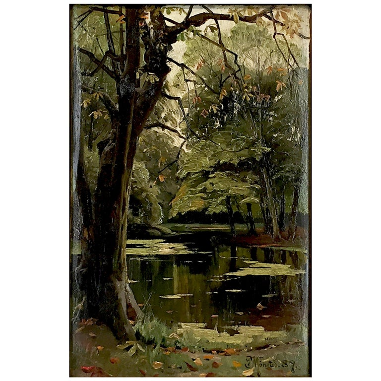Peder Mønsted Painting, Forest Scenery, Late Summer, Oil on Canvas For Sale