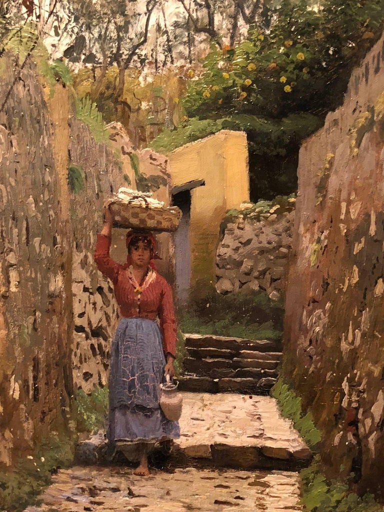 Lady on narrow street, Capri, 1883. Oil on canvas measure: 49 x 37 cm. Beautiful depiction of life in Capri, late 19th century. Great depth, colors.