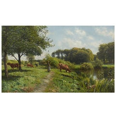 Peder Monsted Painting, Landscape with Young Woman and Cows