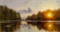 Crepescule - Realist Oil, Sunset over Lake Landscape by Peder Mork Monsted