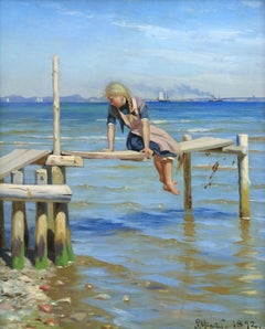 Girl on a Jetty - The Oresund at Hellebæk - Realist Oil, Seascape by PM Mønsted
