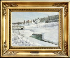 Hundselven, Norway - Winter - 20th Century Oil, Snow Landscape by Peder Monsted